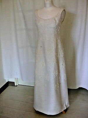 Jacques Heim Haute Couture Numbered White Floral1960S Gown Uk 8-10 Us 4-6