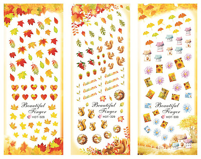 Nail Art Stickers Transfers Decals HOT Series Autumn Leaves Squirrels 328-330