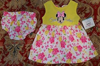 NWT minnie mouse baby girl dress yellow and pink 3-6 month