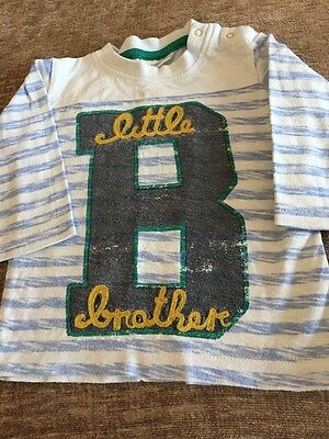 Next Baby Boys Little Brother Top. Size 3-6 Months Lovely Condition