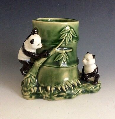 Vintage Chinese Pandas & Bamboo Porcelain Pen Holder Or Brush Pot