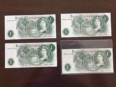 Great Britain Old One Pound Notes - Lot of Four Notes - 3 UNC/1 Circulated