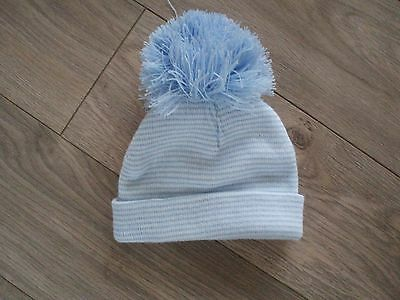 Baby Boys Blue Bobble Hat  Age 12-18 Months
