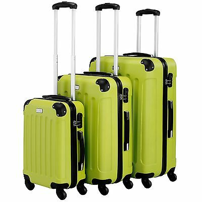 3 Piece Luggage ABS Hardshell Spinner Set Travel Suitcase Carry Suitcase Green