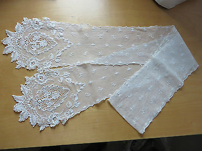 Antique / Vintage (?) Handmade Embroidery Lace Lappet / Shawl / Scarf