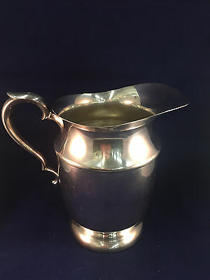 "World Silver - Silver Plate Over Copper Pitcher 9"" x 9"" x 6"" Wide"