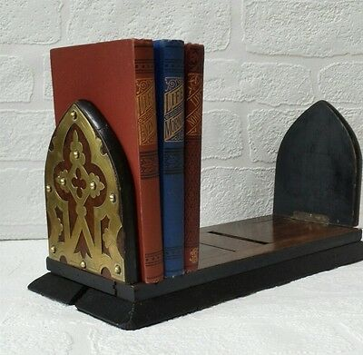 Collectable Vintage Wooden Expandable Book Rest.  Brass Design