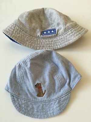 2 Baby Boy Summer Hats For 0-3 Old