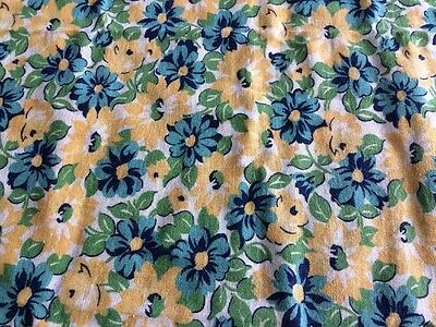 True Vintage Feedsack of Yellow Turquoise Green Flowered Cotton Fabric. Unopened