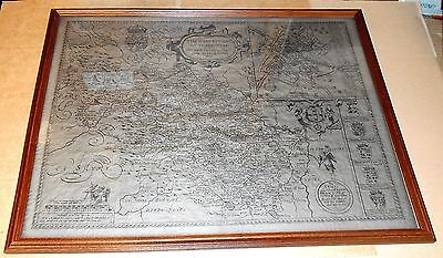 Large Framed Behind Glass John Speed 1610 Reproduction Map of West Yorkshire