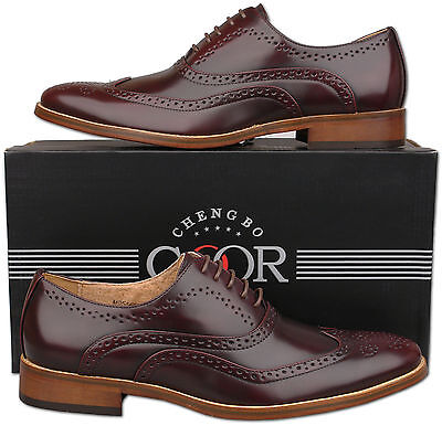 Mens New Oxblood Lace Up Leather Lined Formal Brogue Shoes Size6 7 8 9 10 11 12