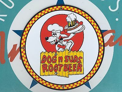 DOG N SUDS ROOT BEER  top QUALITY porcelain coated 18 GAUGE steel SIGN