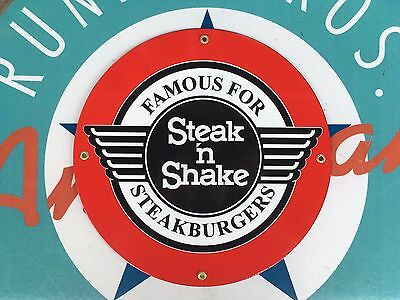 STEAK 'n SHAKE  top QUALITY porcelain coated 18 GAUGE steel SIGN
