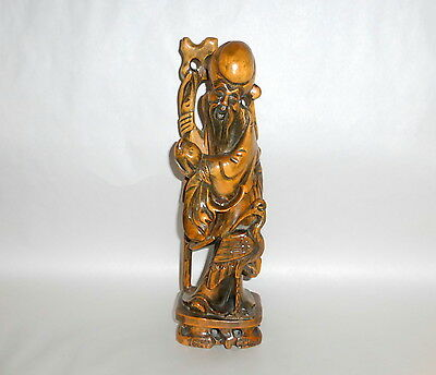 "Stunning Vintage 12"" carved Rosewood SHOU LAO Chinese Longevity Sculpture Figure"
