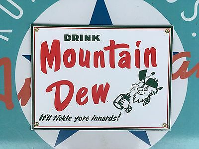 drink MOUNTAIN DEW soda  top QUALITY porcelain coated 18 GAUGE steel SIGN