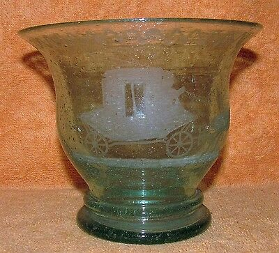 Antique Hand Blown Green Glass Bowl with Etched Horse Drawn Buggy Carriage