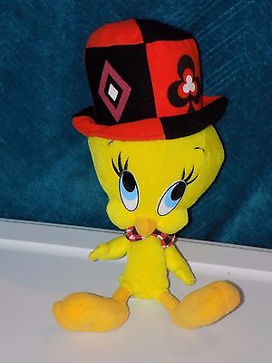 "LOONEY TUNES: 16"" Card Suit Top Hat Tweety Bird Plush - VG Condition (px3)"