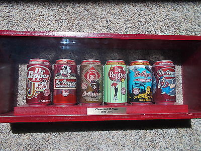 Dr Pepper 125th Anniversary Cheers to 125 Years Rare Display 5 Cans Sign Wood