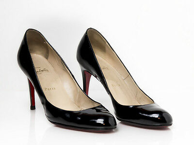 Christian Louboutin 39.5 Simple 85 Black Patent Leather Round Toe Pump