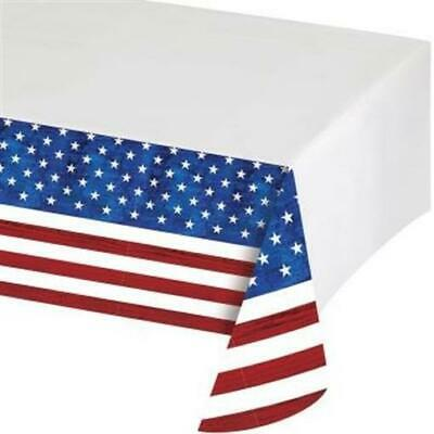 Patriotism Red White and Blue Flag Plastic Tablecloth