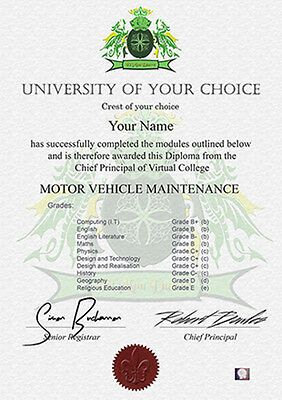 Novelty Degree Certificate Great Gift Fathers Mothers Day Birthday Family Friend