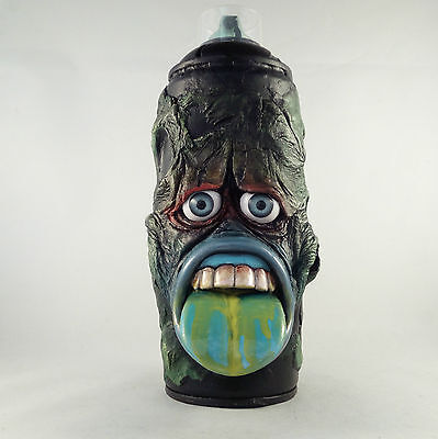 Big Mouth Graffiti Sculpture Original Art Street Monster Model Spray Paint Green