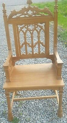 Large Gothic Pulpit Chair by Robert Smith Eastern Maple