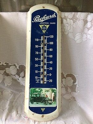 "Vintage PACKARD MOTOR CARS Tin Metal Advertising Thermometer Sign 27"" ~ WORKS!"