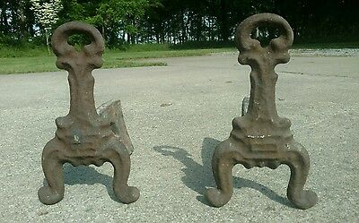 Antique Vintage Cast Iron Andirons Fireplace Insert Log Holders Ornate Early!!