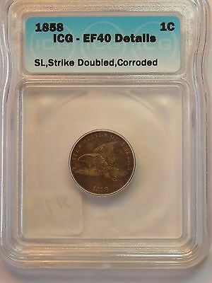 1858 SL  Fllying Eagle Cent  ICG Certified  XF 40 Details    Double Strike