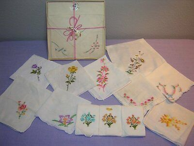 15 Vtg Hankies. Lot E. Floral Embroidery, Some In Box