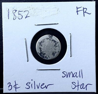 1852 Three-cent SILVER Trime 3c coin SMALL star