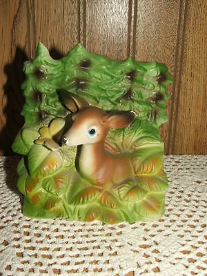 """Vintage - Ceramic - Deer & Butterfly - Pottery Planter - 4 1/2"""" Tall"""