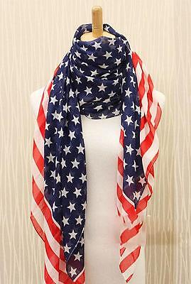 New Women's Fashionable Shawl Lissome Wrap Chiffon American Flag Long Scarf