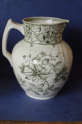 Antique Booths Very Large Jug Pitcher. Victorian. Transfer Clematis pattern.