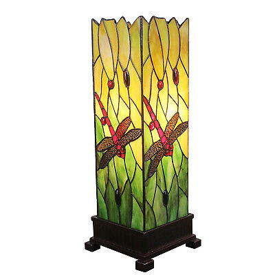 Dragonfly Floor Lamp Handcrafted Stained Glass Tiffany Style Design Light Table