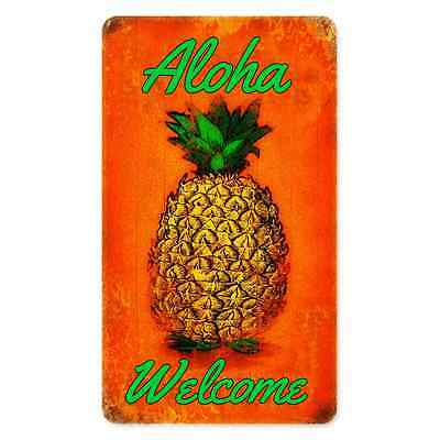 *aloha Welcome* Made In Usa Metal Sign 8X12 Hawaiian Pineapple Tropical Luau