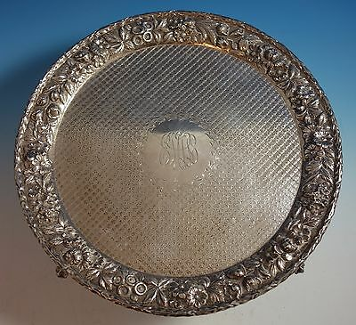 Repousse by Kirk Sterling Silver Salver Tray #1713 with Lion Feet (#1495)