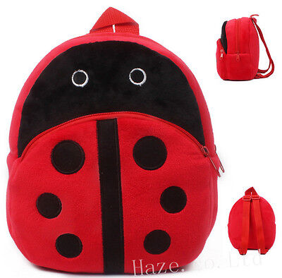 Cartoon Animal Ladybug Kids Baby Plush Backpack Boys Girls School Bag