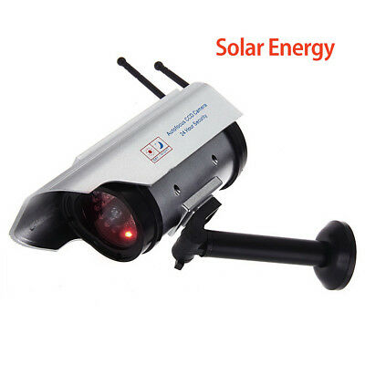 Dummy Solar Battery Powered CCTV Security Camera In/Outdoor red LED 2400 Silver