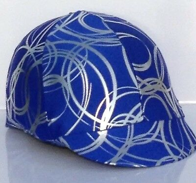 Horse Helmet Cover Blue With Silver Swirls Lycra AUSTRALIAN  MADE
