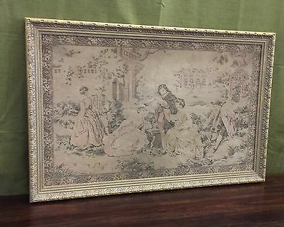 "Lrg Antique Tapestry French Musicians Scene 42"" X 28"" Elegant Gold Frame Framed"