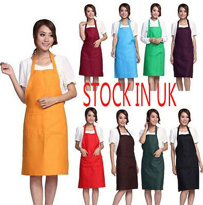 Women And Men Plain Apron with Front PocketS Cooking Chefs Kitchen Restaurant