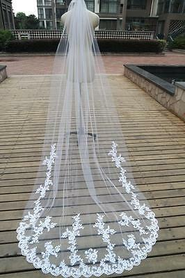 White ivory 1-Layer cathedral Length lace Edge applique Wedding Bridal Veil+Comb