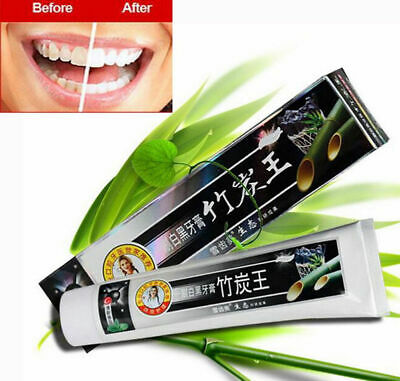 Natural Black Teeth Whitening Cleaning Bamboo Charcoal Mint Odor Toothpaste 105g