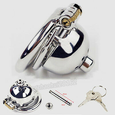 Super Small Male Chastity Device Stainless Steel Lock Bird Cage With Spiked ring