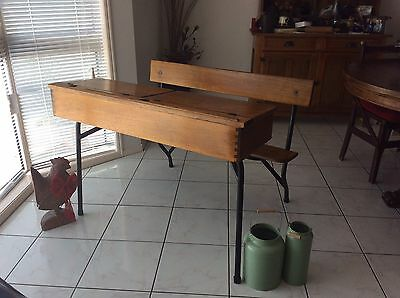 Reduced! Priced To Sell! Antique Student Double Desk Vintage