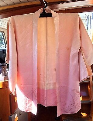 Lovely Pink Patterned Vintage Silk Japanese Haori