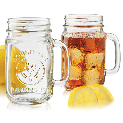 LIBBEY EMBOSSED DRINKING JAR MUGS HOT NEW CRAZE GLASS SET OF 2 488ml COMMERCIAL