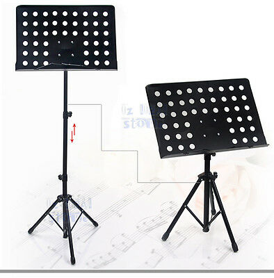 Music Sheet Stand Professional Adjustable Heavy Duty Tripod Stage Support Black